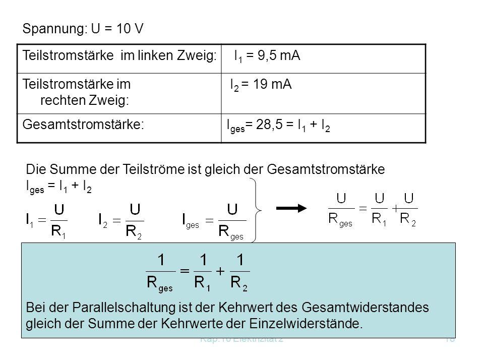 Teilstromstärke im linken Zweig: I1 = 9,5 mA