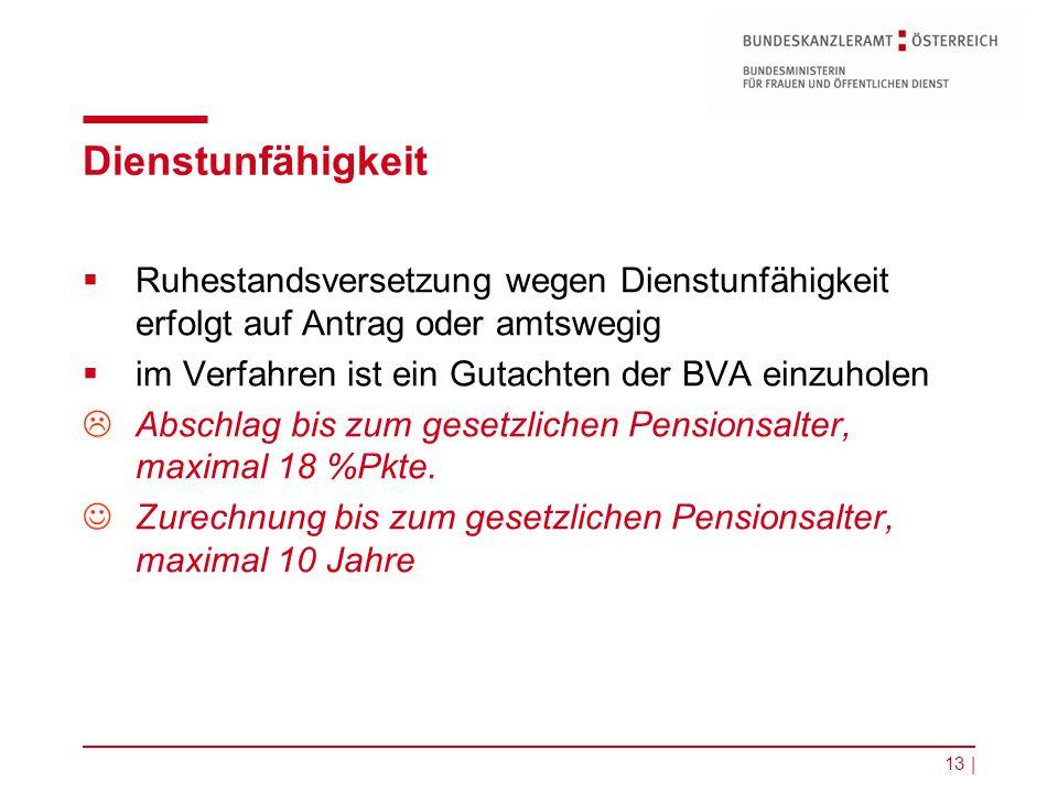 Dienstunfähigkeit Ruhestandsversetzung wegen Dienstunfähigkeit erfolgt auf Antrag oder amtswegig. im Verfahren ist ein Gutachten der BVA einzuholen.