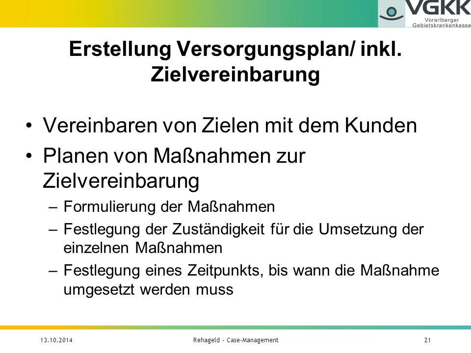 Erstellung Versorgungsplan/ inkl. Zielvereinbarung
