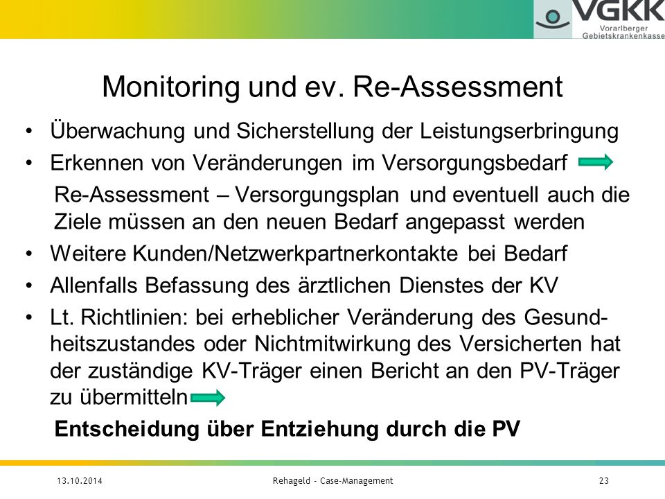 Monitoring und ev. Re-Assessment