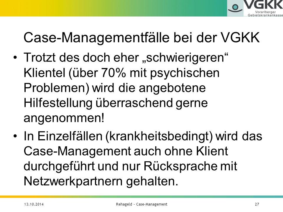 Case-Managementfälle bei der VGKK