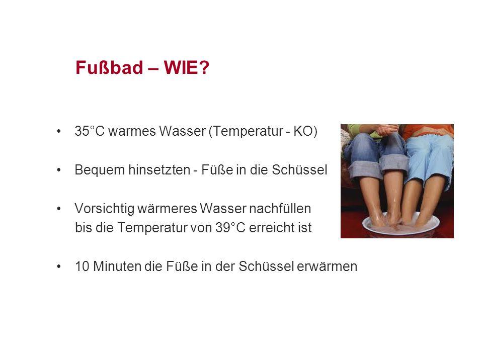Fußbad – WIE 35°C warmes Wasser (Temperatur - KO)