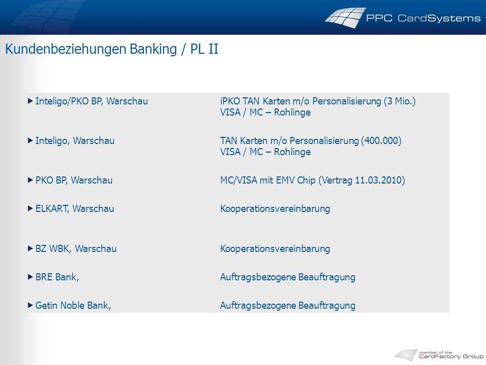 Kundenbeziehungen Banking / PL II