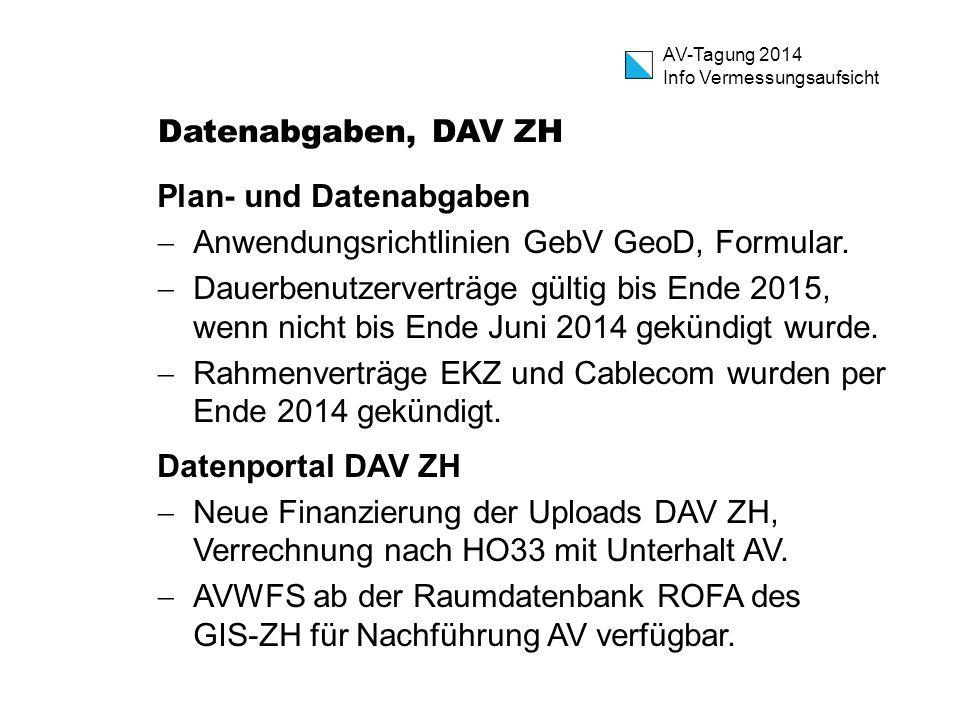 Datenabgaben, DAV ZH Plan- und Datenabgaben. Anwendungsrichtlinien GebV GeoD, Formular.