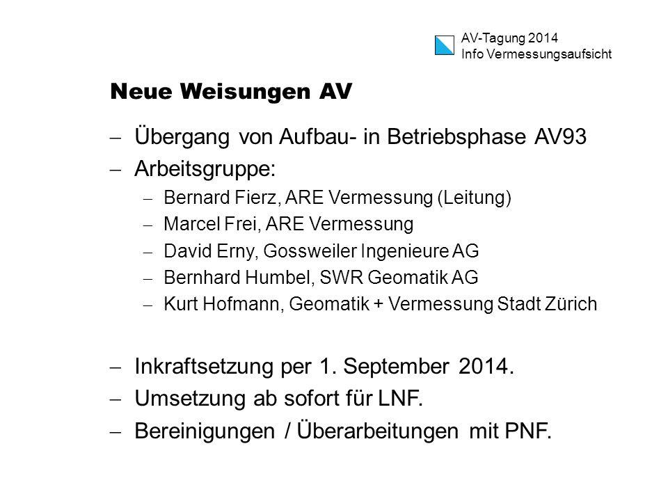 Übergang von Aufbau- in Betriebsphase AV93 Arbeitsgruppe: