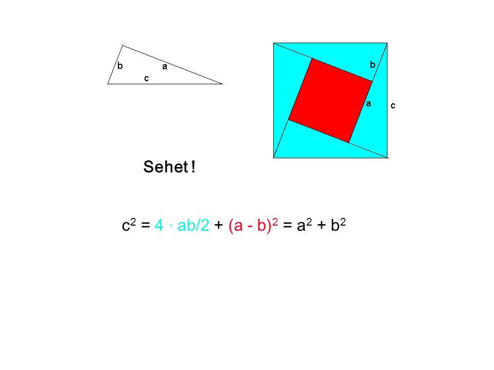 Sehet ! c2 = 4 * ab/2 + (a - b)2 = a2 + b2