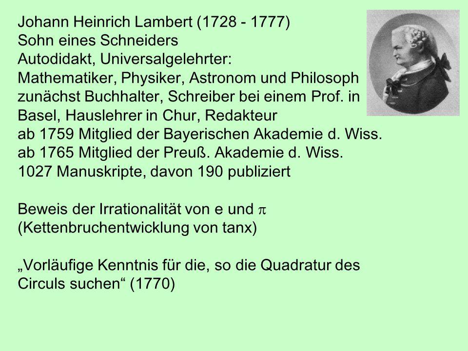 Johann Heinrich Lambert (1728 - 1777)