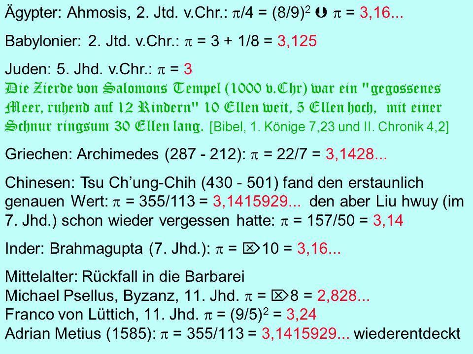Ägypter: Ahmosis, 2. Jtd. v.Chr.: p/4 = (8/9)2  p = 3,16...