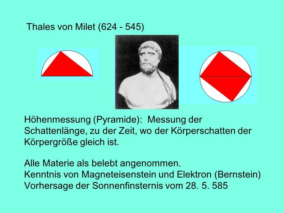 Thales von Milet (624 - 545) Höhenmessung (Pyramide): Messung der Schattenlänge, zu der Zeit, wo der Körperschatten der Körpergröße gleich ist.