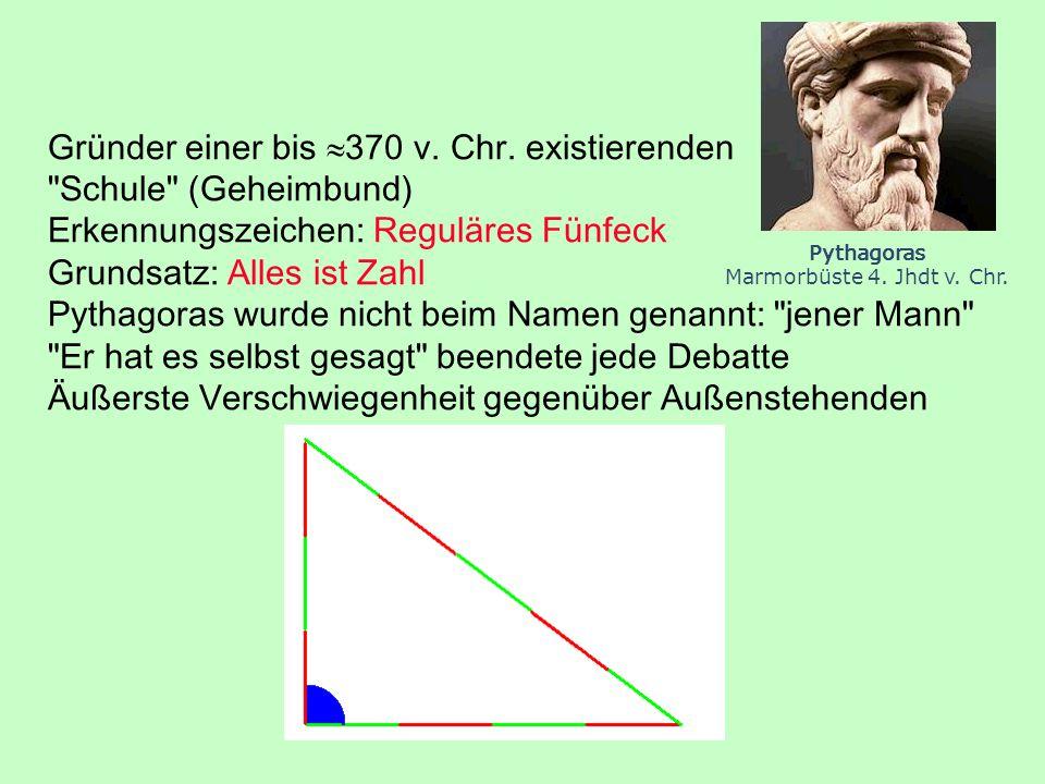 Gründer einer bis 370 v. Chr. existierenden Schule (Geheimbund)