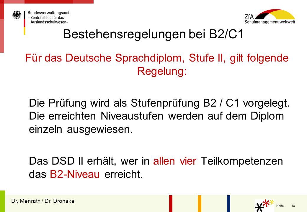 Bestehensregelungen bei B2/C1