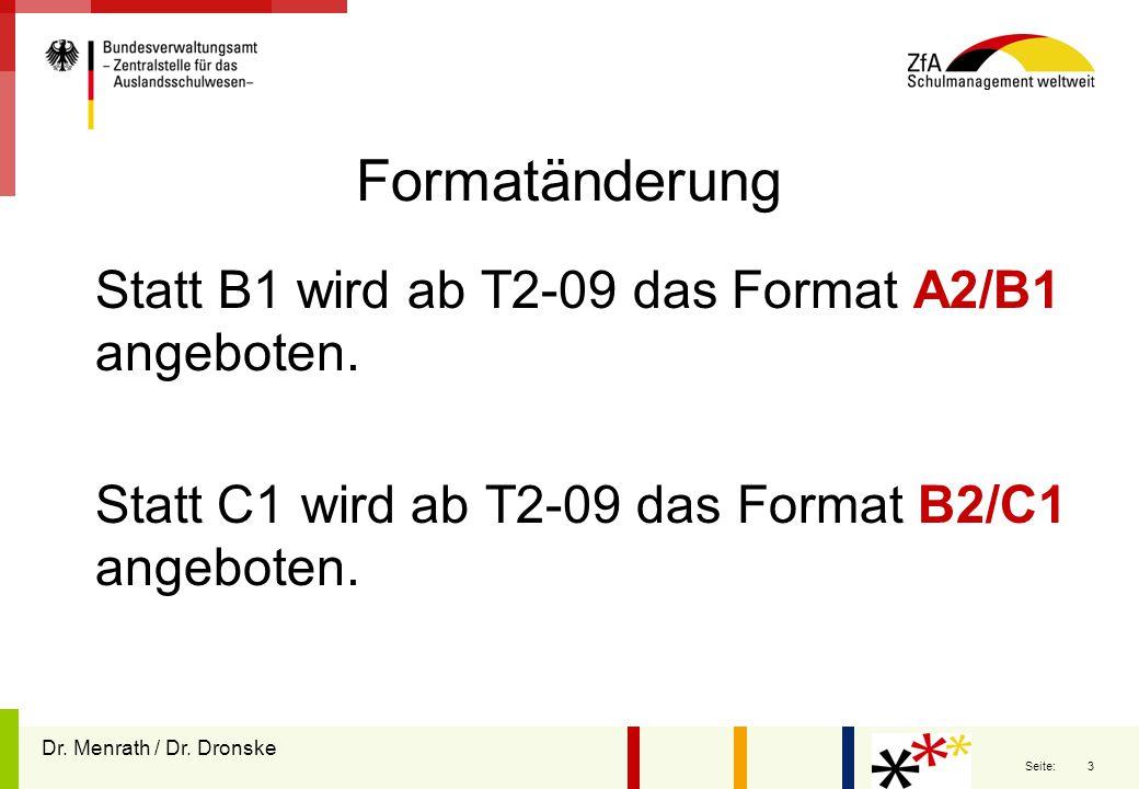 Formatänderung Statt B1 wird ab T2-09 das Format A2/B1 angeboten.