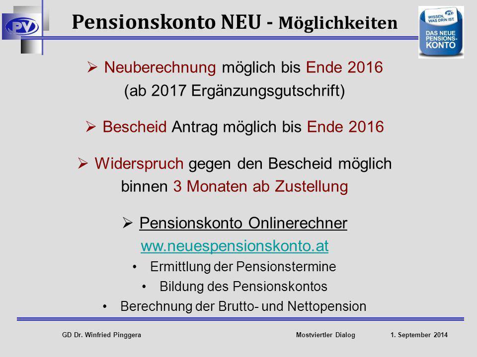 Pensionskonto NEU - Möglichkeiten