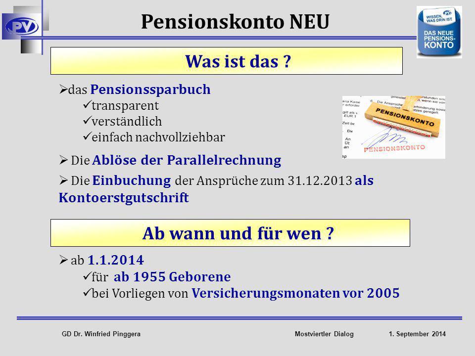 Pensionskonto NEU Was ist das Ab wann und für wen