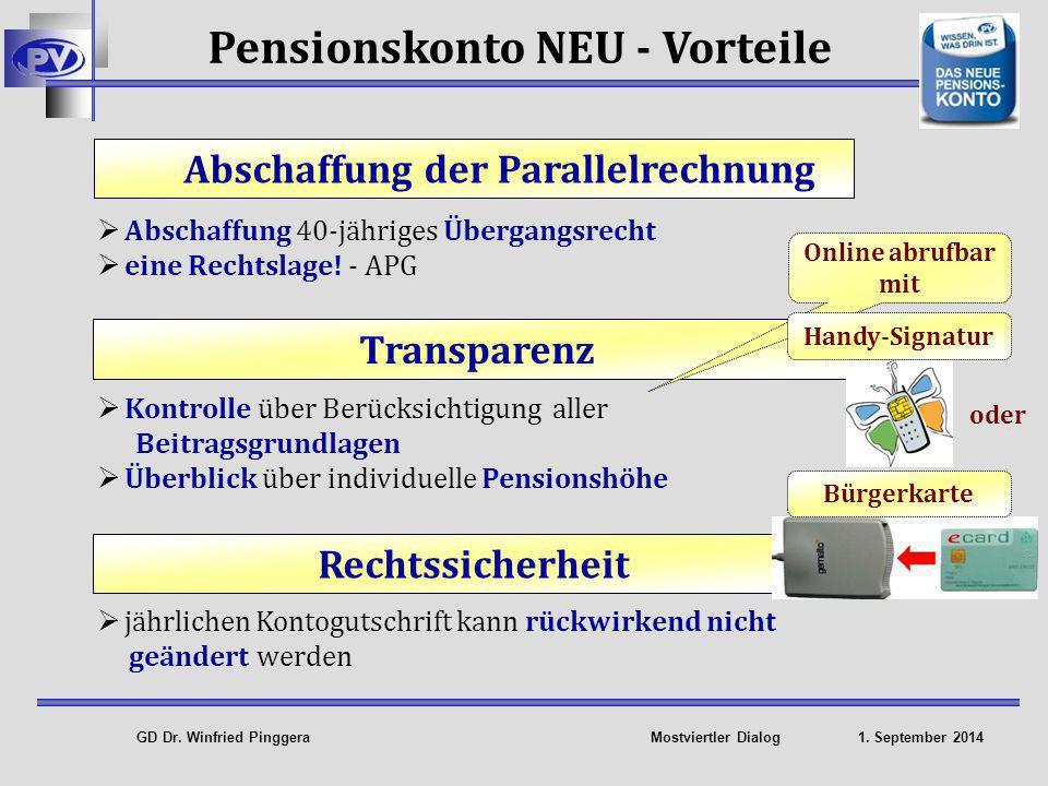 Pensionskonto NEU - Vorteile Abschaffung der Parallelrechnung