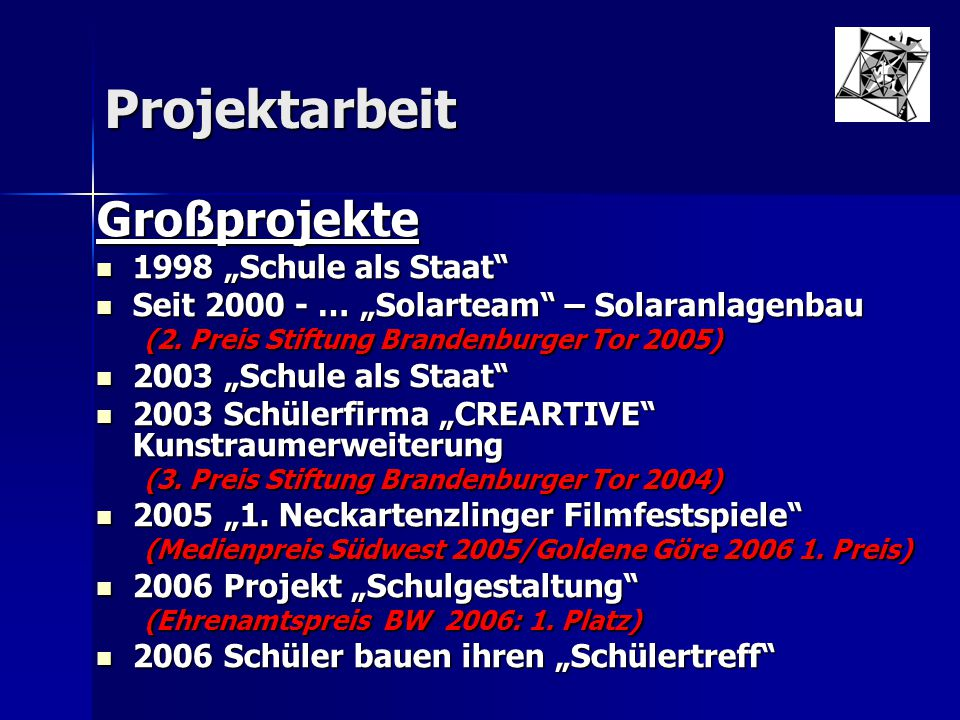 """Großprojekte Projektarbeit 1998 """"Schule als Staat"""