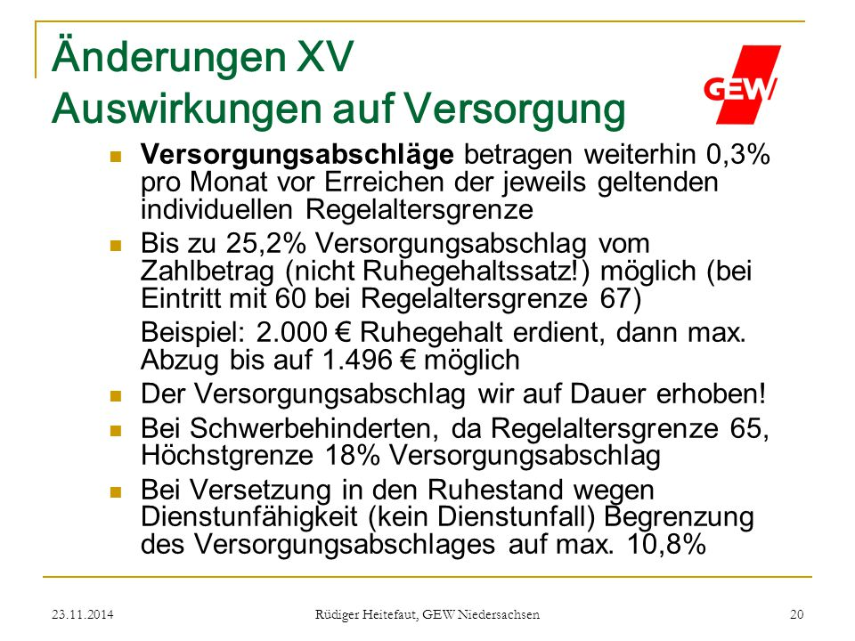 Änderungen XV Auswirkungen auf Versorgung