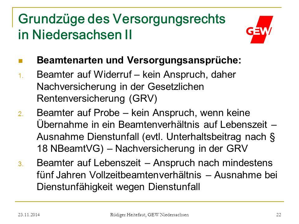 Grundzüge des Versorgungsrechts in Niedersachsen II