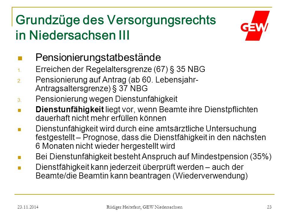 Grundzüge des Versorgungsrechts in Niedersachsen III