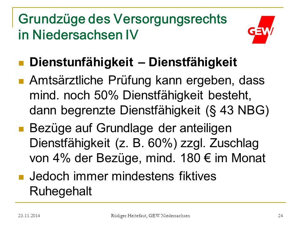 Grundzüge des Versorgungsrechts in Niedersachsen IV