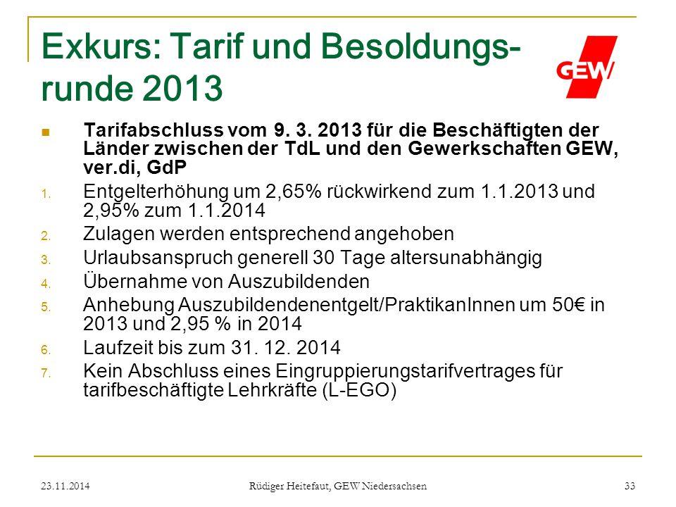 Exkurs: Tarif und Besoldungs- runde 2013