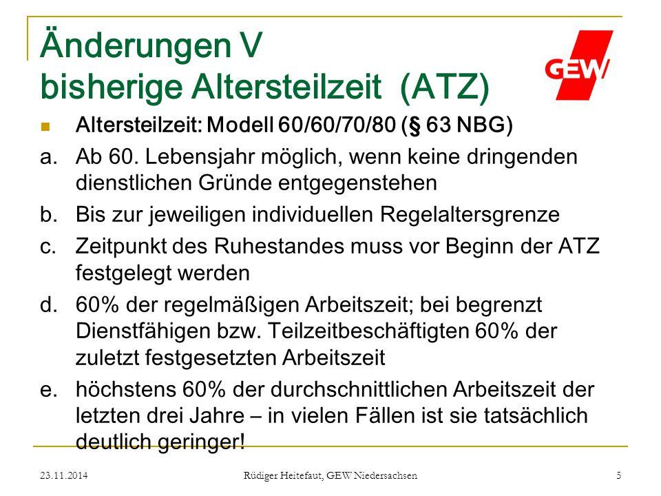 Änderungen V bisherige Altersteilzeit (ATZ)