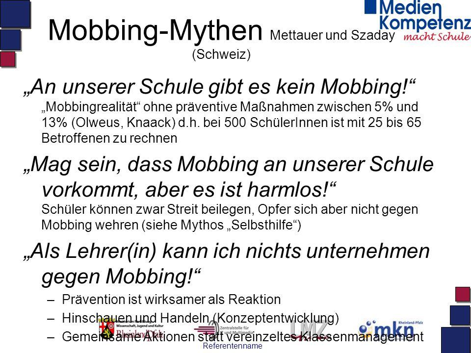 Mobbing-Mythen Mettauer und Szaday (Schweiz)