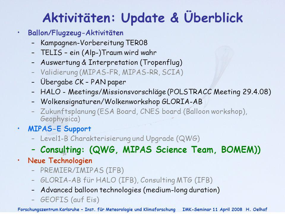 Aktivitäten: Update & Überblick