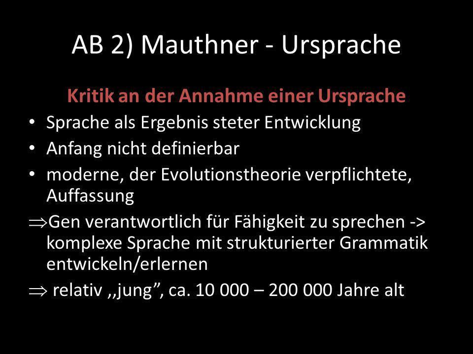AB 2) Mauthner - Ursprache