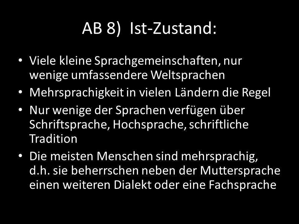 AB 8) Ist-Zustand: Viele kleine Sprachgemeinschaften, nur wenige umfassendere Weltsprachen. Mehrsprachigkeit in vielen Ländern die Regel.