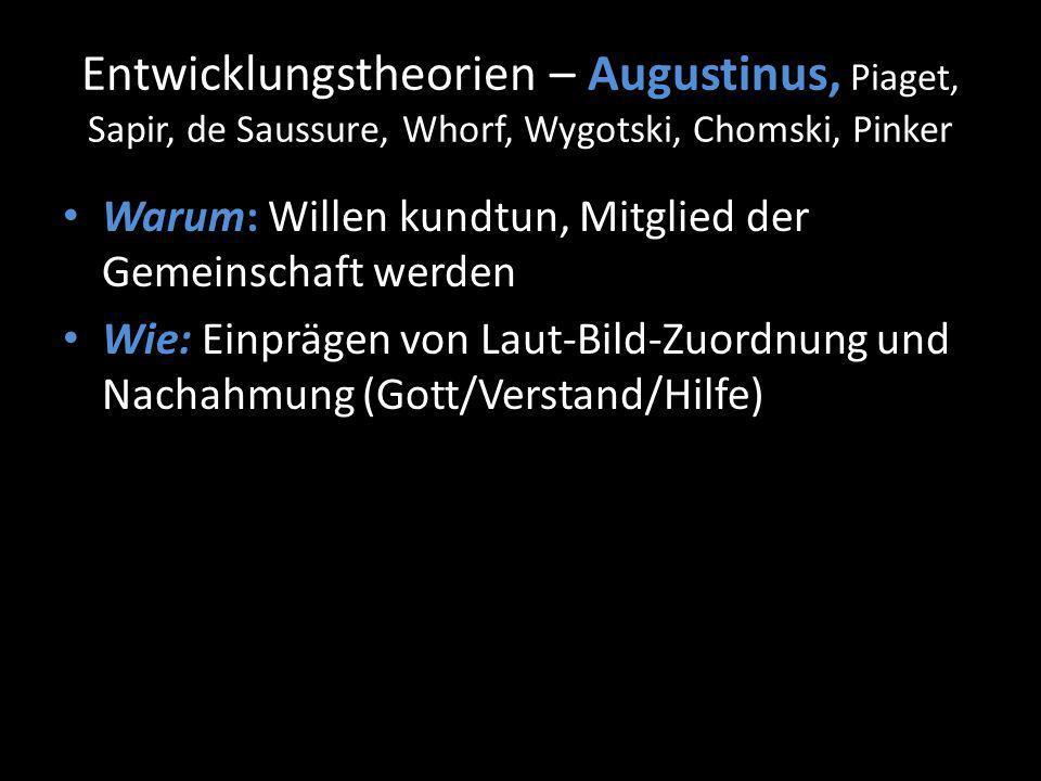 Entwicklungstheorien – Augustinus, Piaget, Sapir, de Saussure, Whorf, Wygotski, Chomski, Pinker