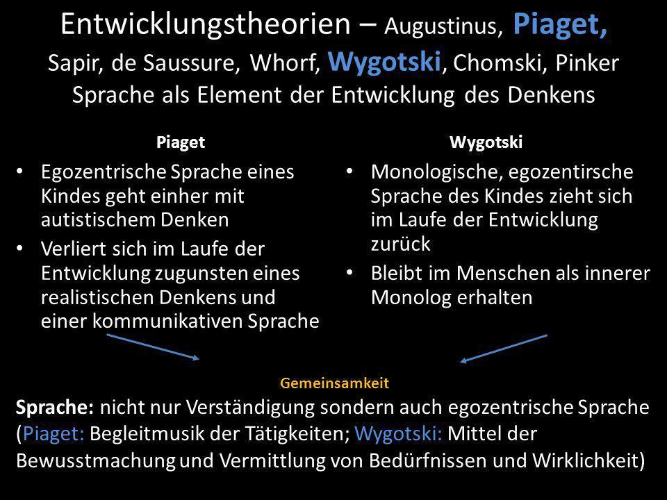 Entwicklungstheorien – Augustinus, Piaget, Sapir, de Saussure, Whorf, Wygotski, Chomski, Pinker Sprache als Element der Entwicklung des Denkens