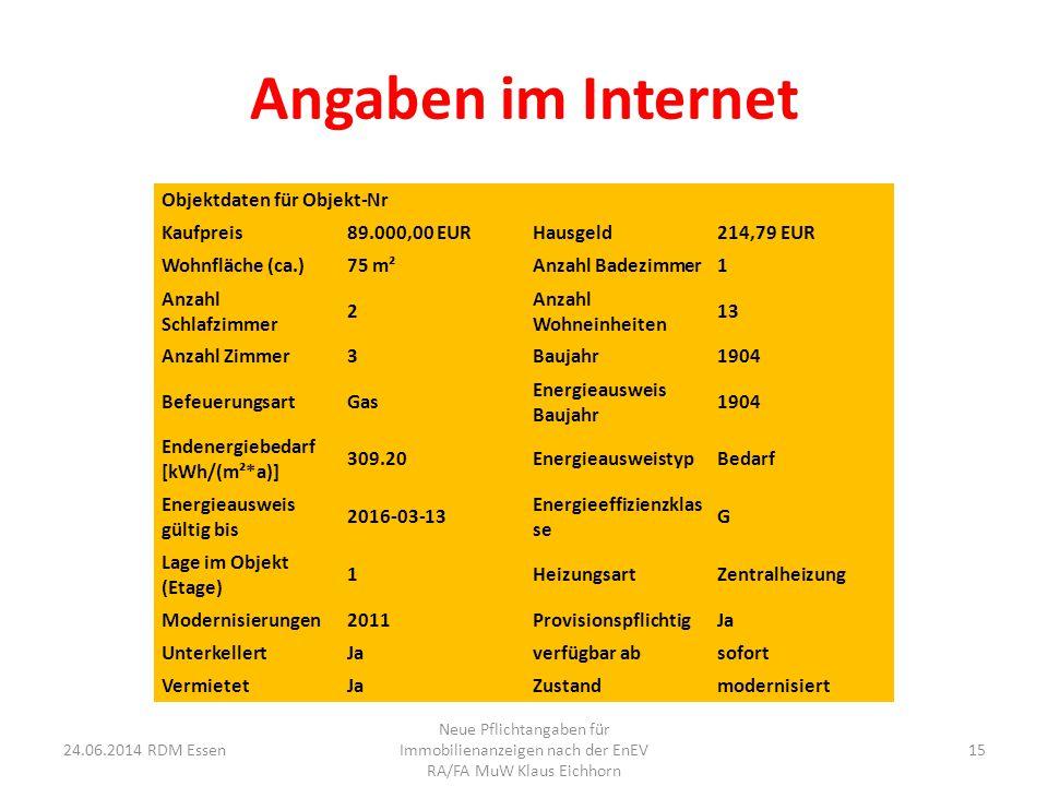 Angaben im Internet Objektdaten für Objekt-Nr Kaufpreis 89.000,00 EUR