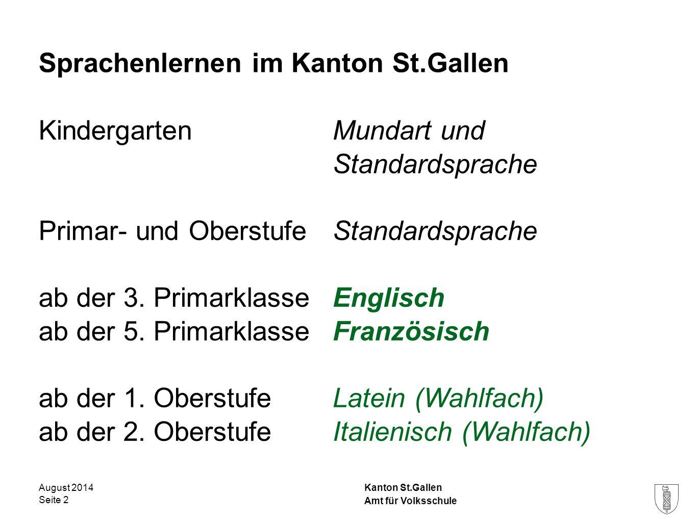 Sprachenlernen im Kanton St.Gallen