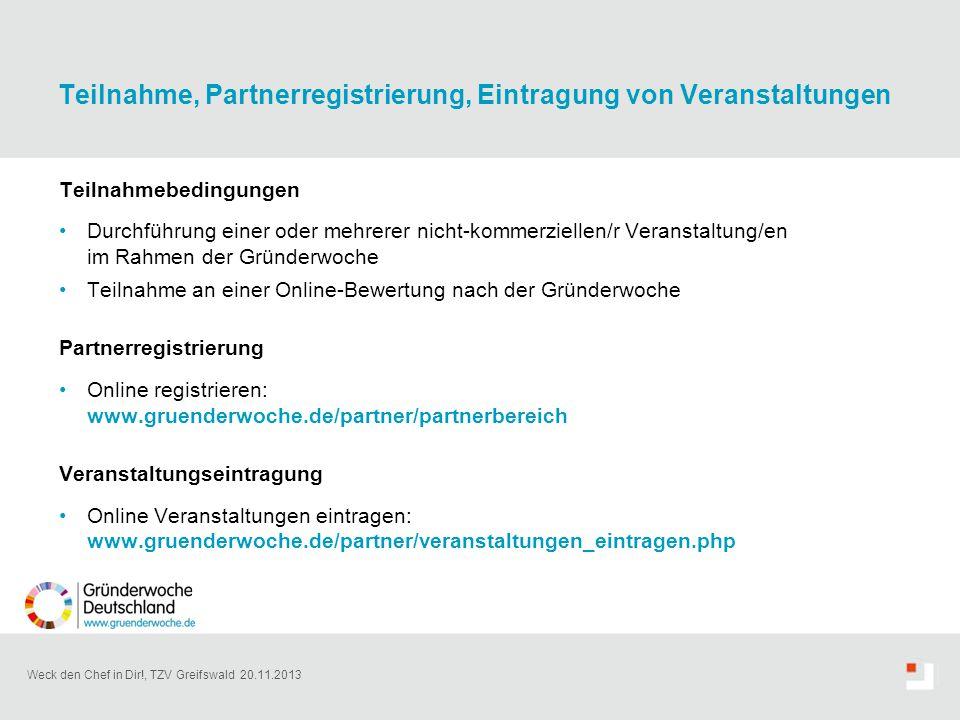 Teilnahme, Partnerregistrierung, Eintragung von Veranstaltungen
