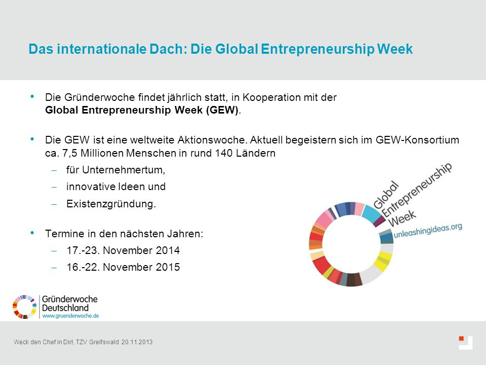 Das internationale Dach: Die Global Entrepreneurship Week
