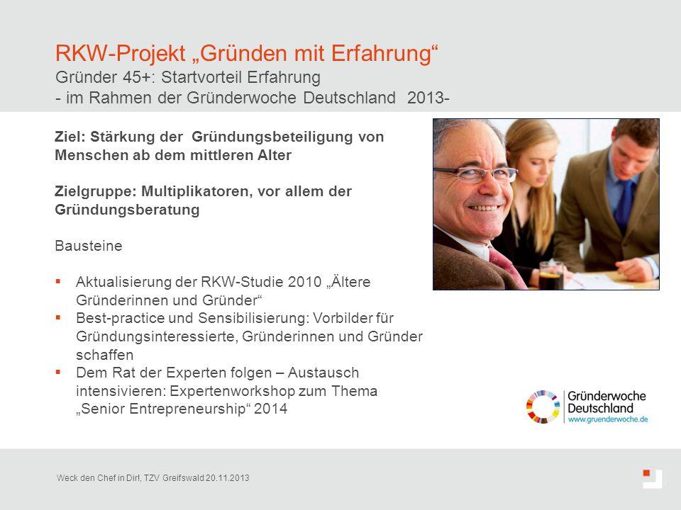 """RKW-Projekt """"Gründen mit Erfahrung"""