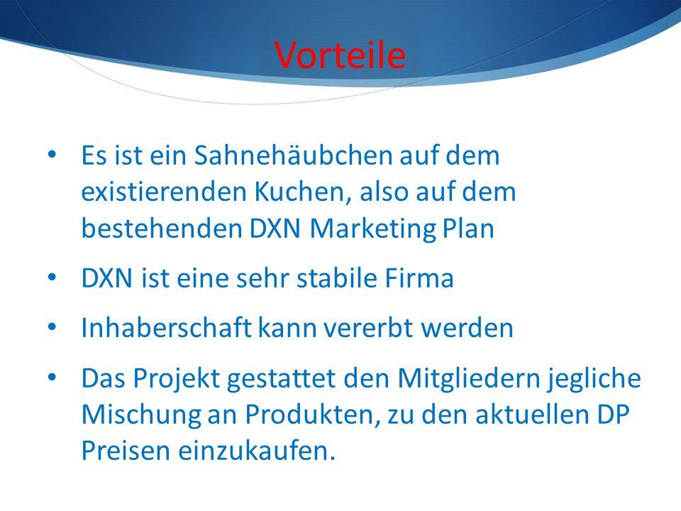 Vorteile Es ist ein Sahnehäubchen auf dem existierenden Kuchen, also auf dem bestehenden DXN Marketing Plan.