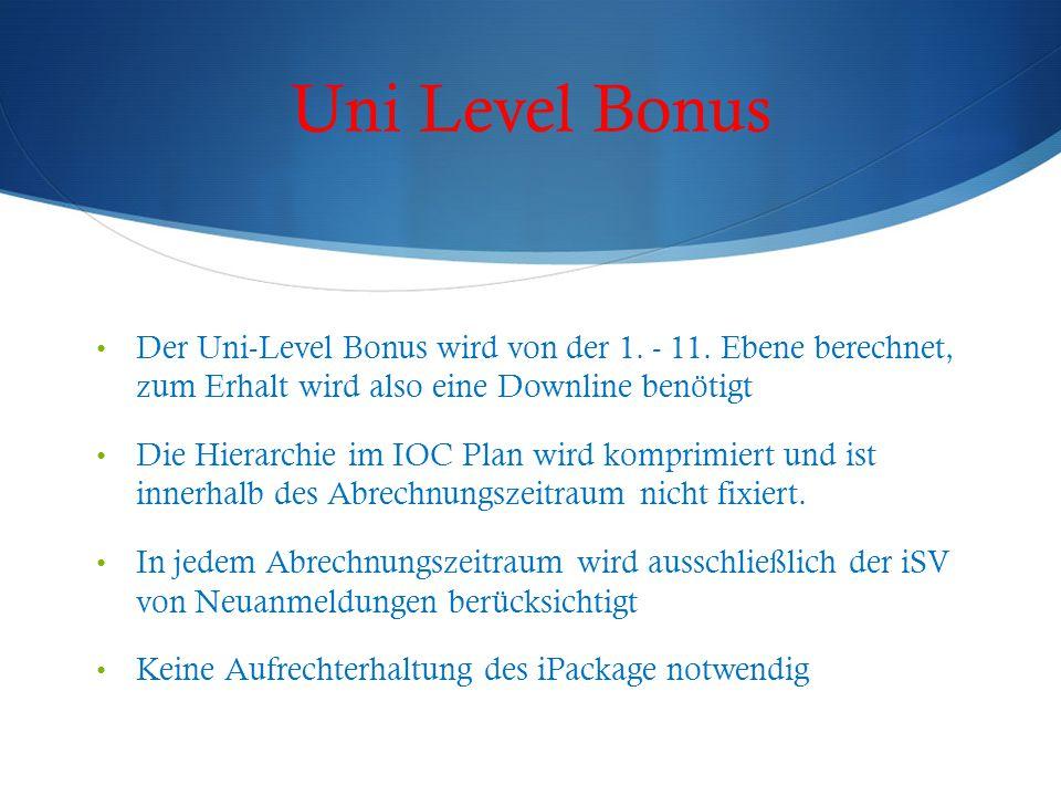 Uni Level Bonus Der Uni-Level Bonus wird von der 1. - 11. Ebene berechnet, zum Erhalt wird also eine Downline benötigt.
