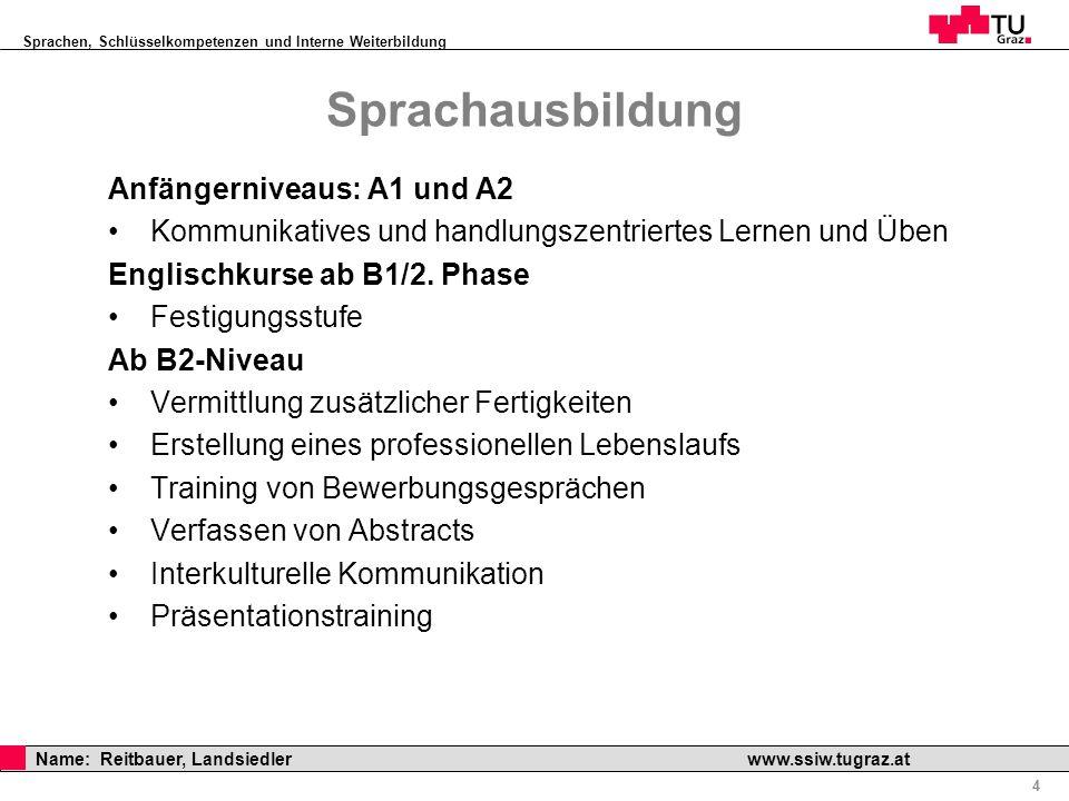 Sprachausbildung Anfängerniveaus: A1 und A2