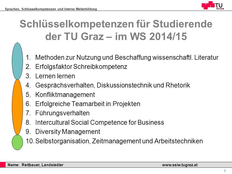 Schlüsselkompetenzen für Studierende der TU Graz – im WS 2014/15
