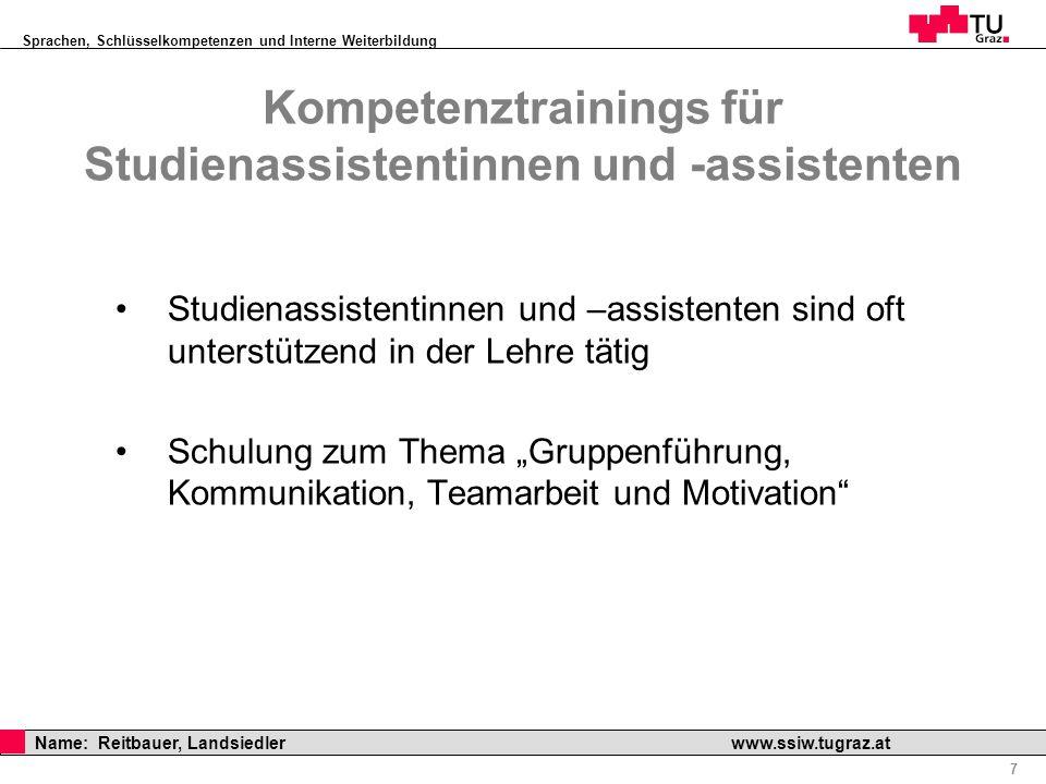 Kompetenztrainings für Studienassistentinnen und -assistenten