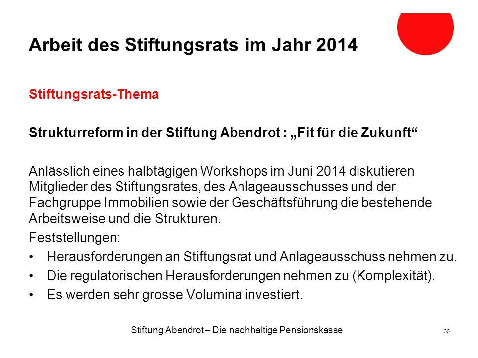 Arbeit des Stiftungsrats im Jahr 2014