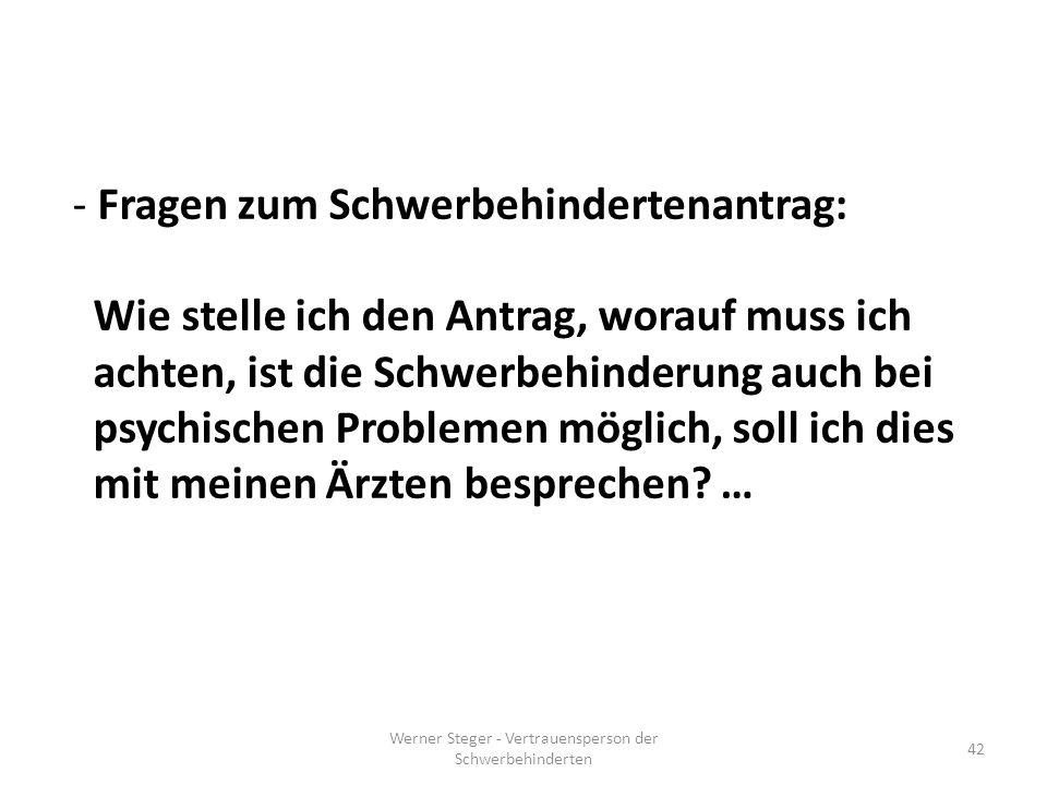Werner Steger - Vertrauensperson der Schwerbehinderten