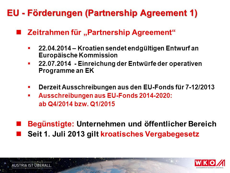 EU - Förderungen (Partnership Agreement 1)