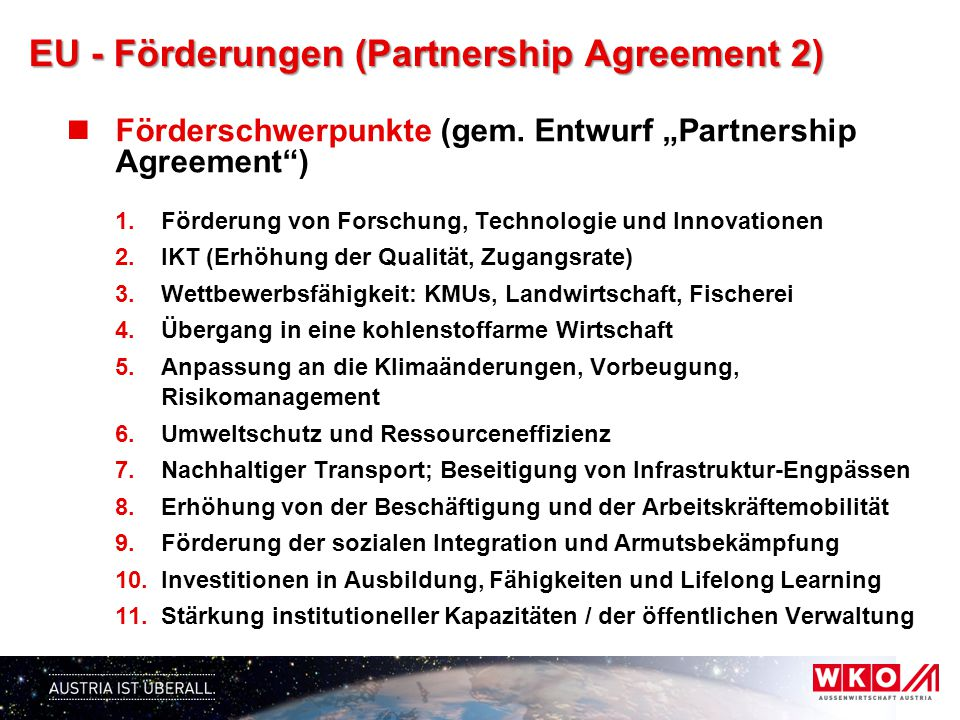 EU - Förderungen (Partnership Agreement 2)