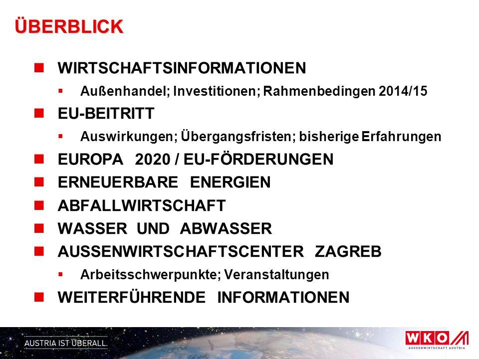 ÜBERBLICK WIRTSCHAFTSINFORMATIONEN EU-BEITRITT