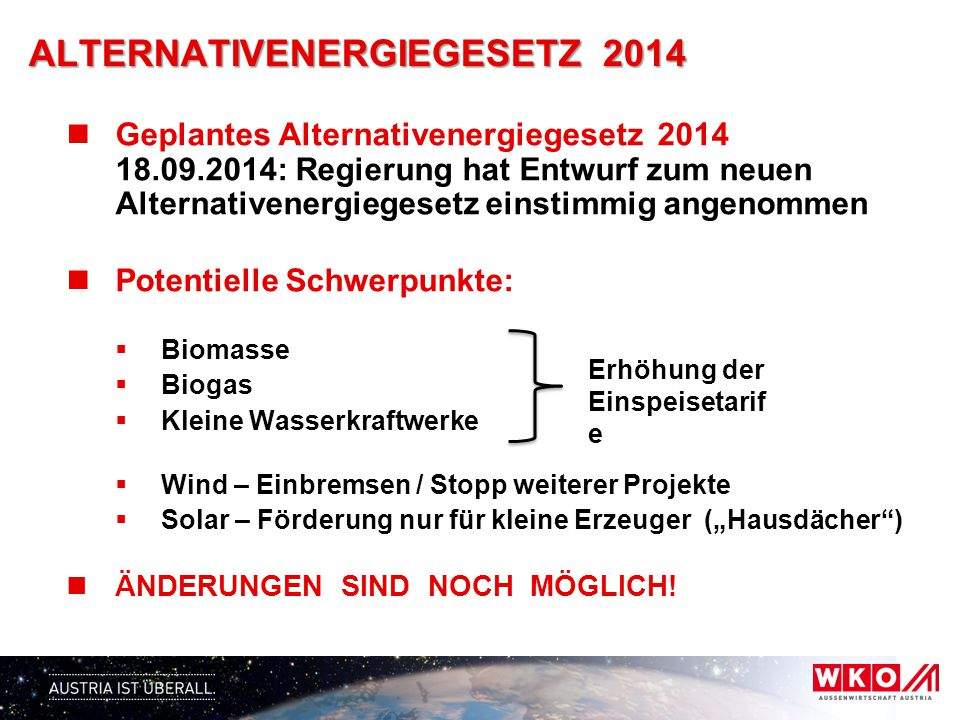 ALTERNATIVENERGIEGESETZ 2014