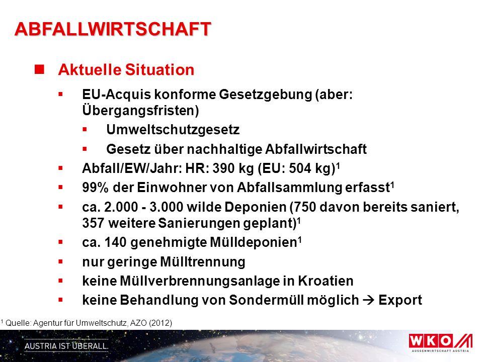 ABFALLWIRTSCHAFT Aktuelle Situation