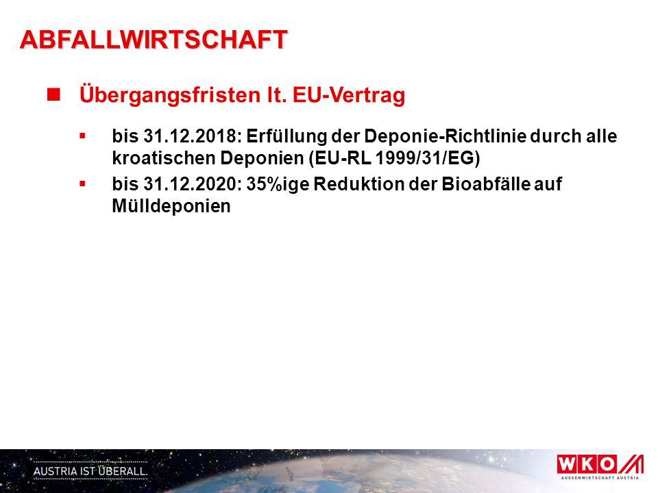 ABFALLWIRTSCHAFT Übergangsfristen lt. EU-Vertrag
